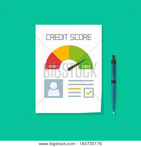 Credit score document vector concept, paper sheet chart of personal credit score information and pen, personal data report form, good index of credit history and approved stamp