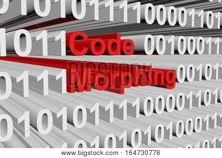 Code morphing in the form of binary code, 3D illustration