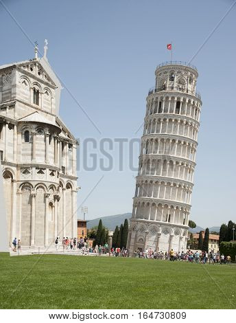 Italy Pisa. The famous Leaning Tower and the Church