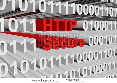 Secure HTTP in the form of binary code, 3D illustration