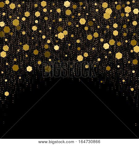 Black background with golden glitter particles elements in shape of hexagon on top. Sparkling texture, star dust sparks in explosion effect of greeting card. Vector holiday illustration for decoration
