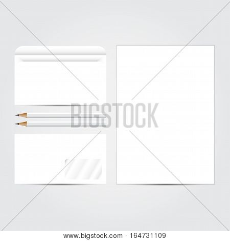 Corporate concept identity blank template set. Business stationery mock-up  white. Branding design. Letter envelope, card, banner, label, pen, pencil, badge,  letterhead. Vector illustration.
