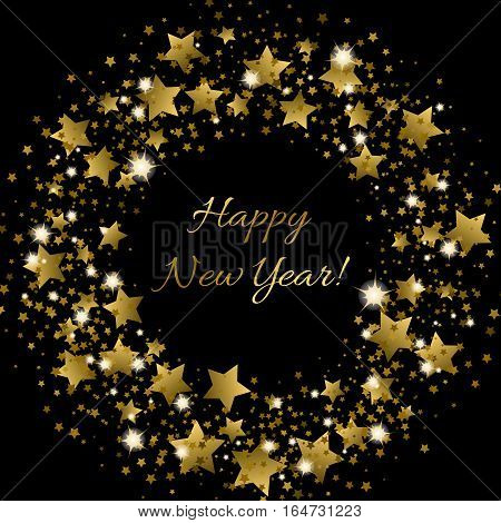 Happy New Year greeting card with golden inscription in centre and wreath of shiny golden stars in different size on black background. Vector festival illustration for decorating different things