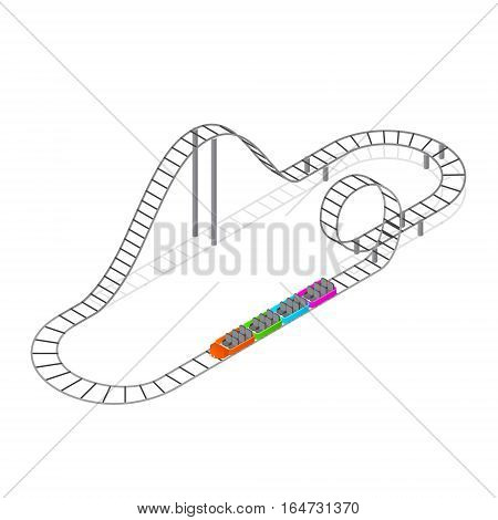 Roller Coaster Attraction Isometric View Concept Fun Leisure Element or Part Amusement Park. Vector illustration
