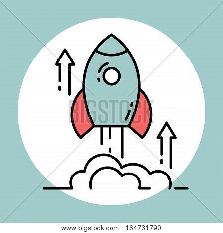 Space rocket launch. Concept of new business project start up and development process. Flat design vector illustration.