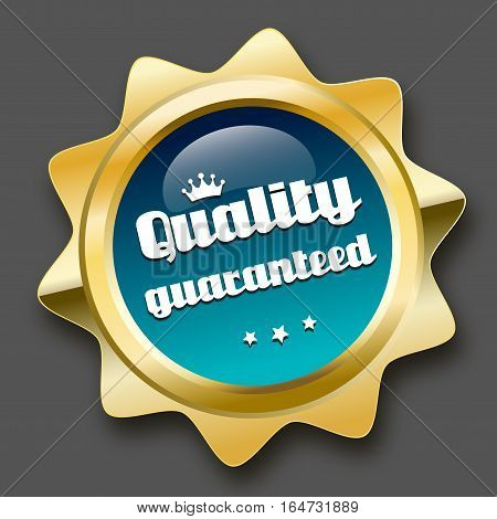 Quality guaranteed seal or icon with crown symbol. Glossy golden seal or button with stars and turquoise color.