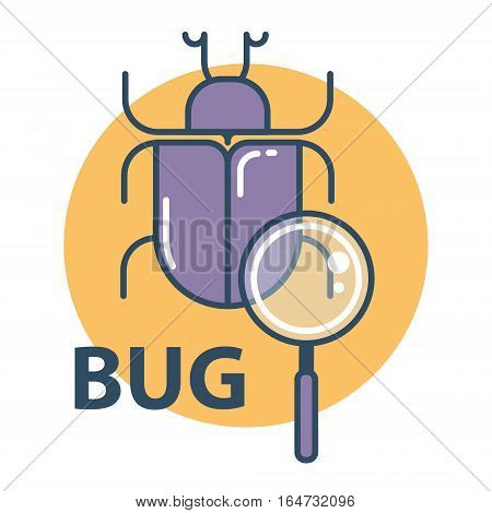 Software bug searching icon. Program error concept. Flat design vector illustration.