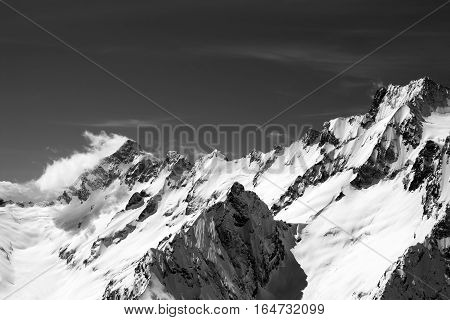Black And White Snow Mountains In Wind Day