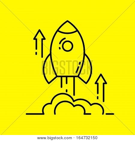 Space rocket launch line icon. Concept of new business project start up and development process. Flat design vector illustration.
