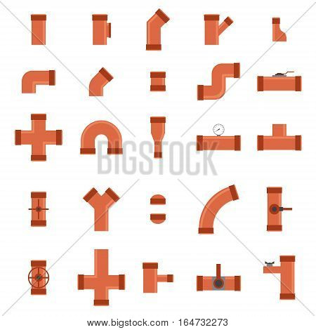 Color Sewer Pipe Connector and Valve Set Industrial Elements Different Shapes for Water. Vector illustration