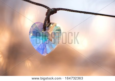 Gemstone Crystal Pendant, Shape Of A Heart
