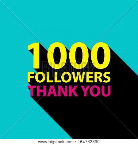 1000 followers, Thank You card template for social networks, promotion and advertising. Vector Illustration.
