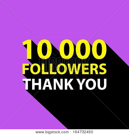 10000 followers, Thank You card template for social networks, promotion and advertising. Vector Illustration.
