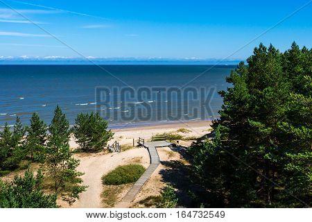 Baltic seashore on summer in Kolka Latvia