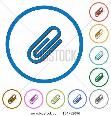Attachment flat color vector icons with shadows in round outlines on white background