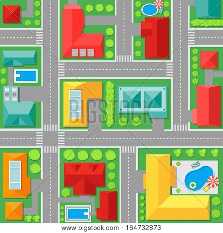 Map of Town Top View Architectural Plan Of The City. Vector illustration
