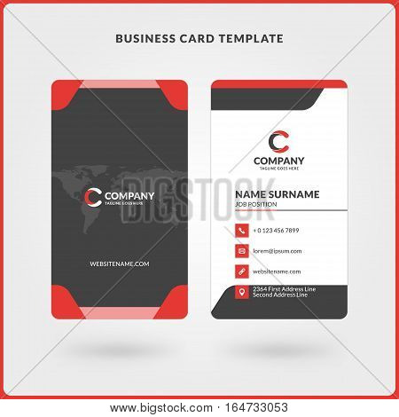 Vertical Double-sided Business Card Template. Red And Black Colors. Flat Design Vector Illustration.
