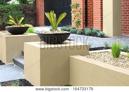 Combinations of plants decking paving and rocks