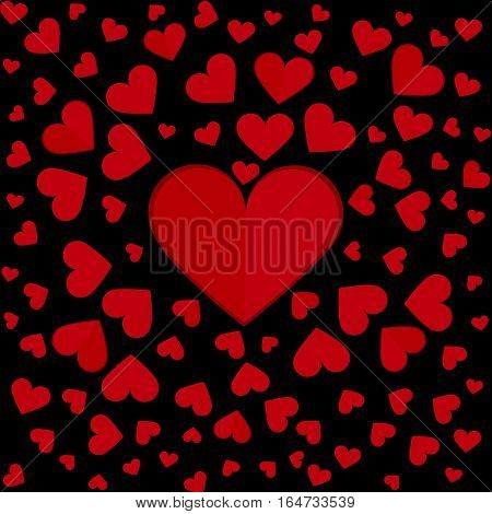 Love extends from red hearts. Vector pattern.