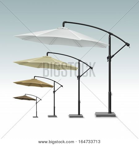 Vector Set of Brown Beige White Blank Patio Outdoor Beach Cafe Bar Pub Lounge Restaurant Round Umbrella Parasol for Branding Top Side View Mock up Close up Isolated on White Background.