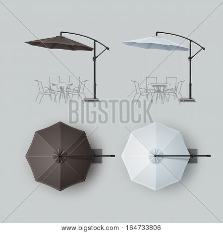 Vector Set of Brown Black Gray White Blank Patio Outdoor Beach Cafe Bar Pub Lounge Restaurant Round Umbrella Parasol for Branding Top Side View Mock up Close up Isolated on Background