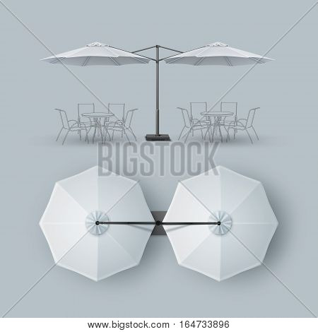 Vector White Blank Patio Double Outdoor Beach Cafe Bar Pub Lounge Restaurant Round Umbrella Parasol for Branding Top Side View Mock up Close up Isolated on Background