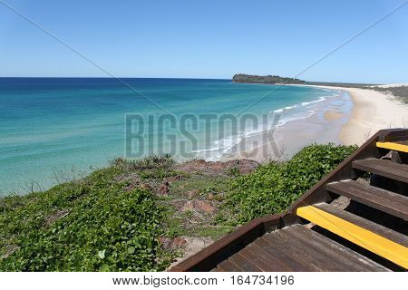 walkway to view overlooking beach at fraser island australia