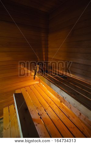 Traditional Finnish wooden sauna in a cabin in Lapland