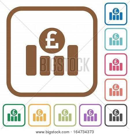 Pound graph simple icons in color rounded square frames on white background