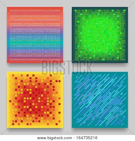 Vector set of four technological geometric templates for cards. Colorful patterns on the theme of coding matrix data transmission.