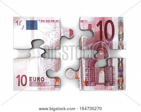 10 Euro Banknote Puzzle. European Money. Ten. Wealth.