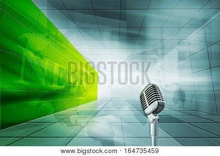 Futuristic Modern High tech Enclosed News Studio Background With Meal Microphone and News Text in Green Wall.