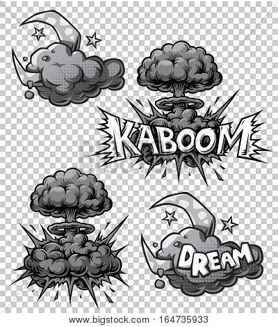 set of monochrome comics icons. Explosion bubbles. Comic book explosion set