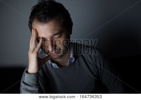 Portrait Of Thoughtful Sad Man