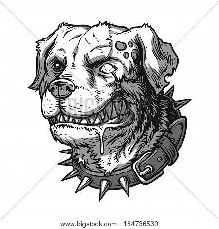 illustration of evil mad dog grinning teeth