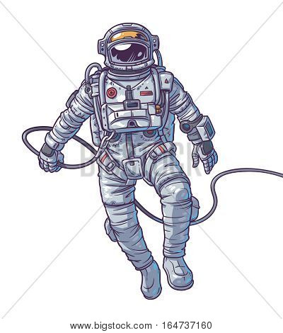 illustration cosmonaut, astronaut on a white background. Print for T-shirts