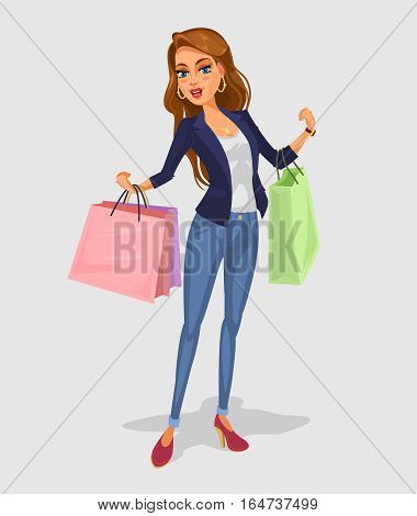smiling girl holding in hands bags with purchases illustration