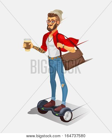 illustration of a cool hipster riding a hoverboard and drinking coffee
