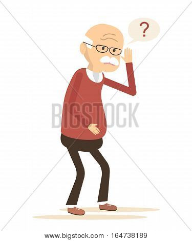 Deaf old man trying to hear. Hearing loss icon. Vector illustration flat design