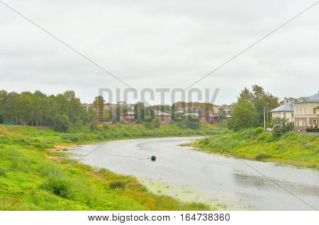 Vologda River in Vologda City at cloud summer day Russia.