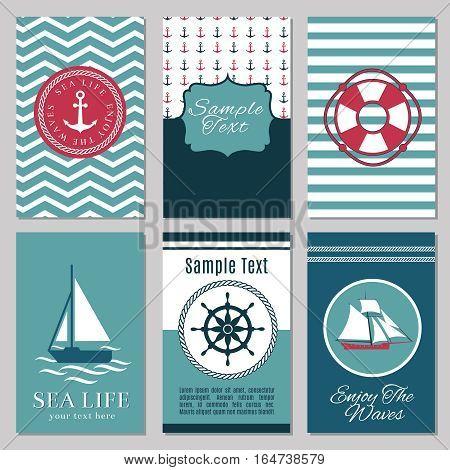 Marine banners or summer nautical invitation cards design vector. Marine template card for invitation illustration