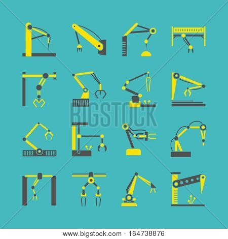 Technology factory robot arms equipment. Vector industrial machine hands icons. Equipment robotic arm illustration