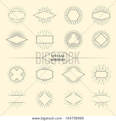 Vintage beauty sun rays borders or retro circles star exploding frames vector illustration. Triangle square and oval form radiant sunburst