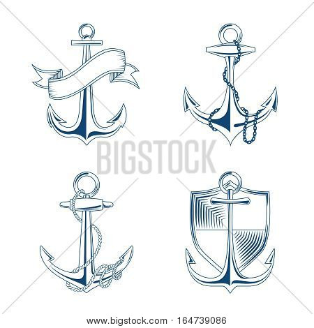 Vector anchor with rope and chain set illustration. Emblems anchors with shield and ribbon