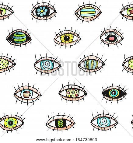 Eye tileable backdrop, colorful doodle sketchy textured design. Vector illustration.