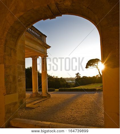 Arch In Ancient Castle At Sunset Incenon, Bordeaux