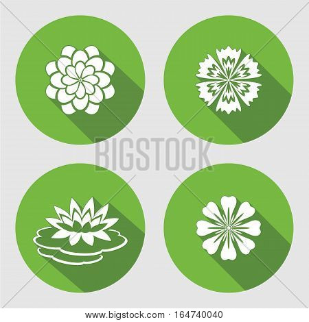 Flower icons set. Lily, waterlily, chamomile, blue poppy, daisy, gowan. Floral symbols. Round circle flat sign with long shadow. Vector