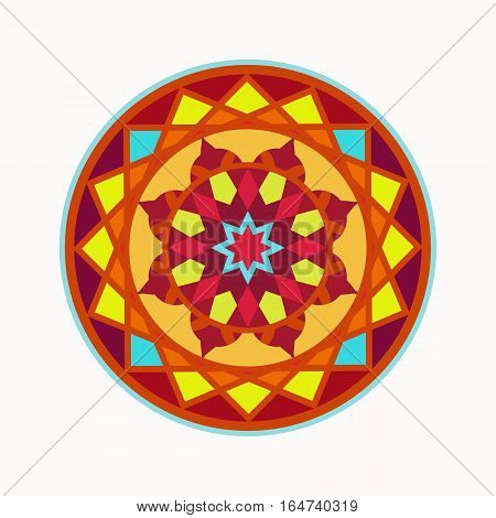 Mandala tattoo icon. Geometric round stylized ornament. Harmony, luck, infinity symbol. Red, yellow, blue, brown colored. Vector