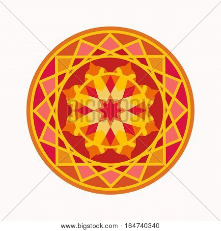 Mandala tattoo colored icon. Geometric round stylized ornament. Harmony, luck, infinity symbol. Red, yellow, orange colors. Vector