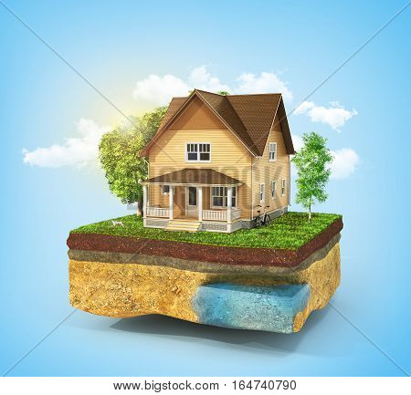 Concept of home. House in the grass on a piece of earth on a sky background. Rent buy and realization concept. 3d illustration